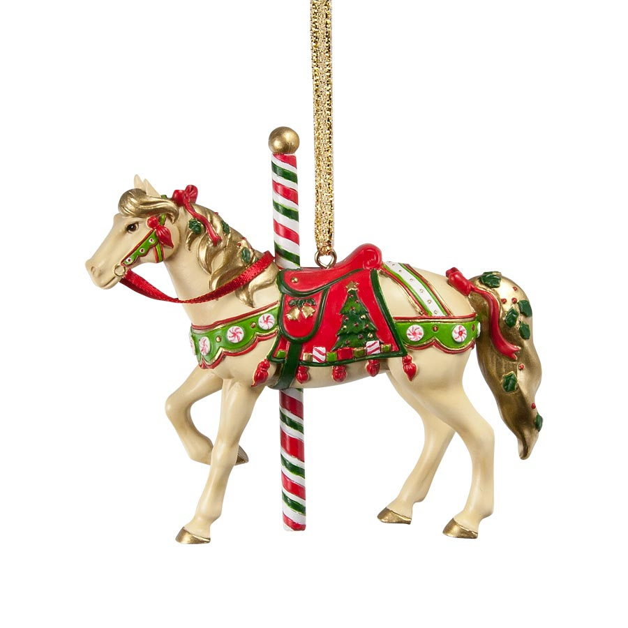 christmas carousel ornament in a holiday tin - Horse Christmas Ornaments